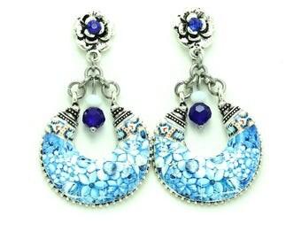 Chandelier earrings, portuguese tile earrings, statement earrings, flower earrings, Portugal, azulejo, anniversary gift for women