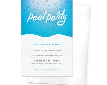Pool Party Invitation / Children's Birthday Party Invitation / Summer Party Invitation / Printable Invitation / Water Drops