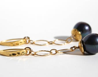 Black pearl earrings with gold filled loops design