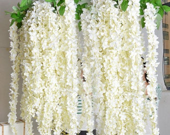 """1pc 70"""" Ivory Silk Wisteria Hanging Flowers Garland 3 flower head With Leaves, Wisteria Vine Wedding Backdrop"""