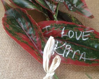 Message On A Leaf, Leaf Place Cards For Bohemian Wedding, Birthdays, Parties,Name Tags For Gifts