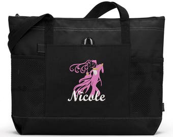 Dancers 1 Personalized  Zippered Tote Bag with Mesh Pockets, Beach Bag, Boating, Exclusive Design
