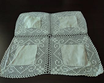 Vintage French white linen and crochet lace doily  (04850)