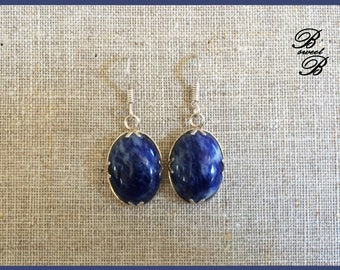 "Sodalite on Silver earrings 925 ""Multicolored"" collection made entirely by hand."