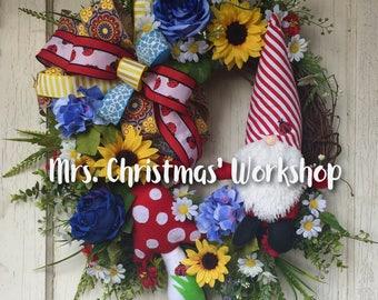 Summer wreath, grapevine wreath, farmhouse wreath, floral wreath, gnome wreath, ladybug wreath, patriotic, sunflower wreath