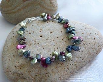 Mixed Colour Keshi Freshwater Pearl Bracelet