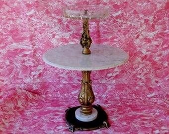 Vintage Pedestal Smoking Stand Ashtray, Neoclassical Italian Marble