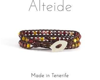 Bracelet Montaña roja 2 waves - Alteide - made in Tenerife - surf inspired - 925 Silver - man woman - Mookaite