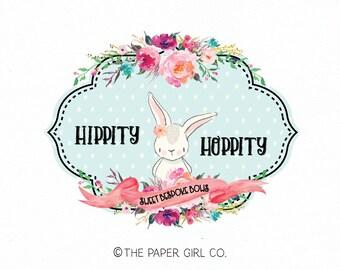 bow shop logo bunny logo design rabbit logo design hair clip logo design premade logo design photography logo baby shop logo children's logo