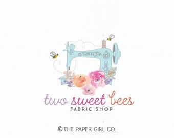 sewing machine logo seamstress logo fabric shop logo premade logo design applique logo design embroidery logo bee logo watercolor logo