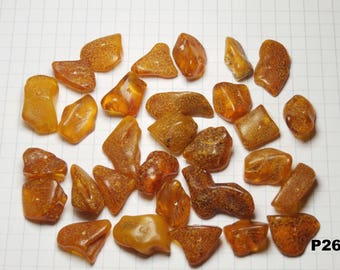 P26 / lot 20g amber beads natural honey color