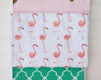 Flamingos and Pineapples Burp Cloths
