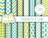 "Geometric Digital Paper Pack: ""Turquoise & Lime"" geometric patterns for scrapbooking, invites, cards - printable - Backgrounds"