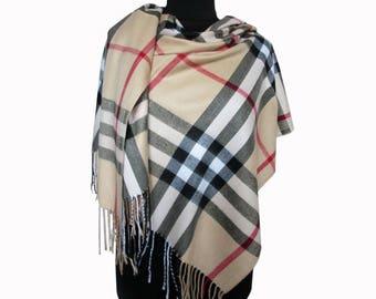 Beige Tartan Scarf, Checkered Blanket Scarf, Beige Plaid Scarf, Checkered Shawl, Christmas Gifts for Mom, Beige Wrap Shawl, Plaid Fall Scarf
