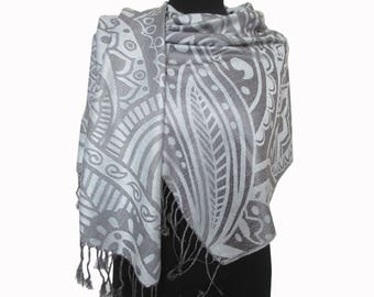 White Gray Scarf, Gifts for Her Birthday, Abstract Shawl, Christmas Gifts for Women, Pashmina Scarf, Fashion Boho Shawl, Long Scarf