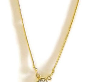 Gold Tone Snake Chain Clear Crystal Pendant Necklace