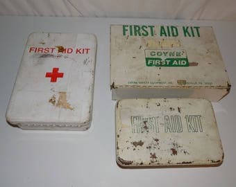 Collection of 3 Vintage First Aid Kit Box MSCo Coyne