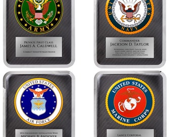 Military Hero Plaque Personalized , Army, Navy, Marines, Air Force, Laser Engraved Gift