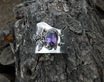 Sunrise silver huge grapevine cuff bracelet with amethyst stone.  Vintage southwest cuff Carol Felley.