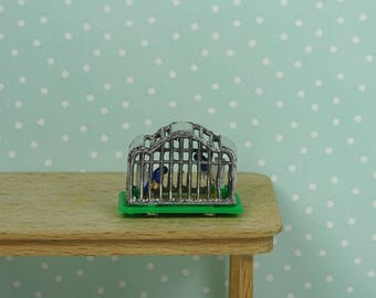 Doll house vintage birdcage canaries 1970s metal