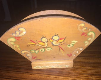 Vintage hand painted Woodcroftery wooden napkin holder, made in America