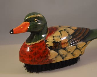 Vintage wooden shoehorn and brush,duck figure