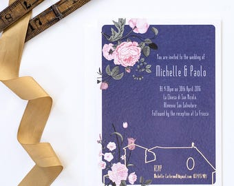 Navy floral wedding invitation with optional gold foil detail