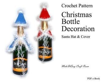 Christmas bottle cover crochet pattern Santa hat and cloak festive pattern Mrs.Claus crochet bottle cover Xmas table decor Digital download