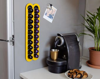 Yellow Nespresso Coffee Capsules Holder, 20 Coffee Pod Storage, Magnetic Wall Mount, Coffee Pod holder, Coffee Lover Gift Kitchen Decor Gift