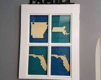 State cutouts, wooden state, laser cut states