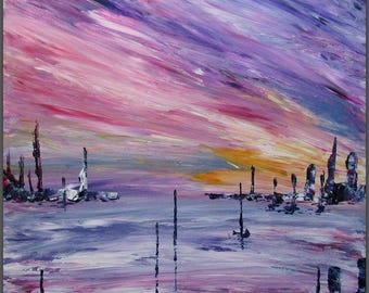 Abstract expressionism painting Rose