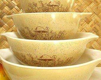 Pyrex USA Cinderella Bowls  ~ Retro Forest Fancies ~ Set of Four