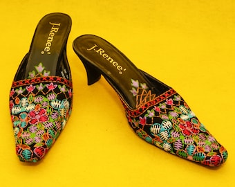 Hand Embroidery Slip On Heels Size 8M