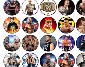 30 Assorted WWE Premium Rice Paper Cup Cake Toppers
