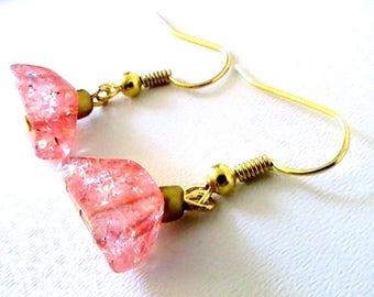 Square Pink salmon asymmetrical earrings