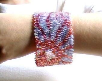 Pastel beads woven cuff