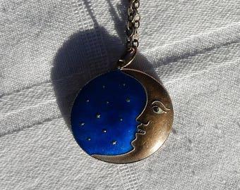 "Early Laurel Burch ""Moonface"" Pendant on Sterling Chain - 1970's Laurel Burch Silver Cloisonne Moonface - Burch Early Blue Moonface Necklace"
