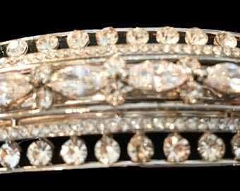 New Art Deco  Silver With Austrian Crystal  Band 3'' Hair Barrette