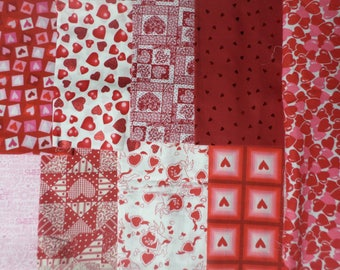 Valentine Fabric 9 pieces that are all different and different lengths that are red and pink nice variety