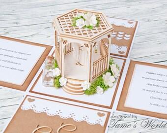 Personalized Wedding Explosion Box / Wedding Exploding Box / Personalized Wedding Gift / Wedding 3D Box / Wedding Card / Wedding Card Box