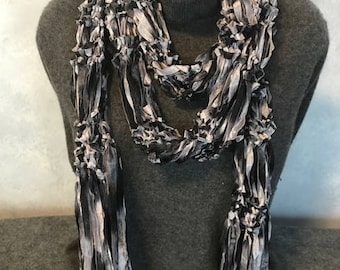 Knit Ribbon Scarf Shades of Grey