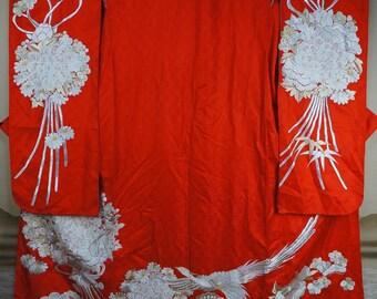 Ceremonial Kimono Nagasode Japanese silk 1980s wedding dress Japan craft