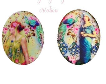 """Cabochon oval resin """"retro woman"""" set of 2 40 x 30mm"""