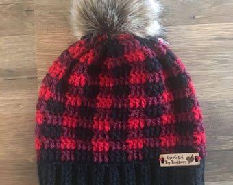 Crochet Buffalo Plaid Hat