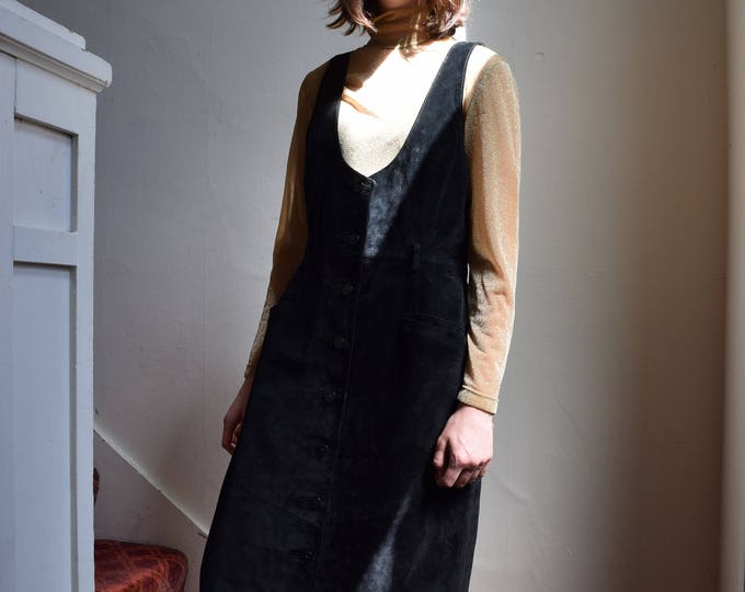 black suede pinafore.