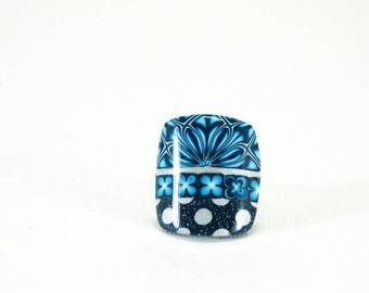 Square ring Navy Blue and gray