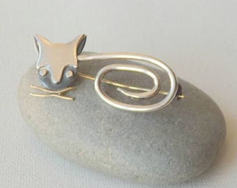 Sterling Silver Orvelo Taxco Mexico Modernist Cat Pin Kitty Brooch Silver Animal Pin 925 Cats, Mexico Cat Jewelry, Mexico Kitty Brooch 925
