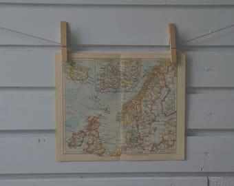 1936 Vintage North Europe Map