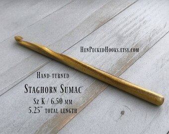 Hand-turned Staghorn Sumac - Crochet Hook with thumb rest  Sz K / 6.50 mm