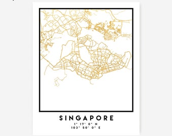 Singapore Map Coordinates Print - Singapore City Street Map Art Poster, Gold Singapore Map Print, Singapore Coordinates Poster Print Map Art